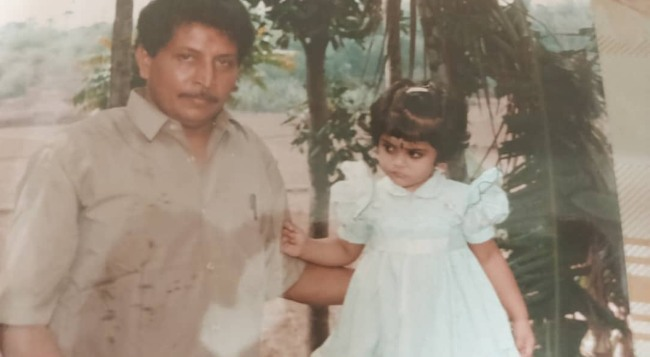 Manjima Mohan with her father in a childhood picture posted in 2019