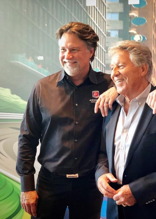 Michael Andretti with his father, as seen in April 2019