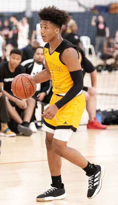 Mikey Williams as seen while playing with the Compton Magic in April 2019