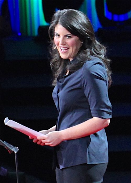 Monica Lewinsky seen during her TED Talk in 2015