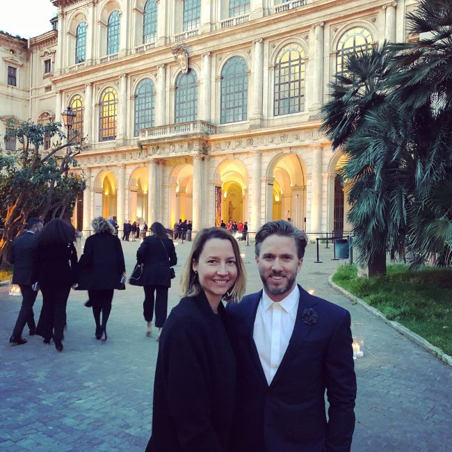 Nick Heidfeld with his wife at Palazzo Barberini in 2018