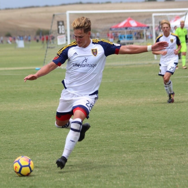 Noah Beck in a picture taken during a soccer match in 2018