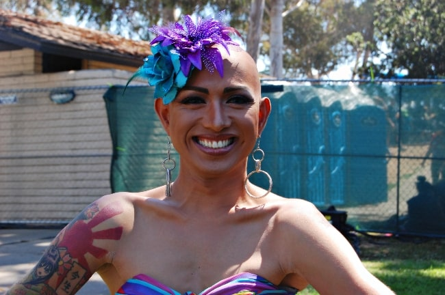 Ongina as seen while smiling for a picture backstage at San Diego Pride 2010