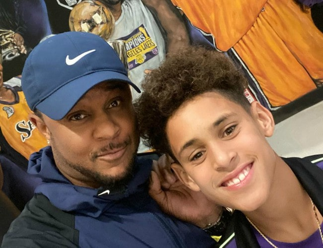 Pooch Hall (Left) with his son as seen in March 2020