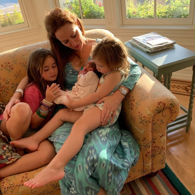 Rebecca Creskoff as seen in a picture taken with her daughters Sadie and Isla and her new born son Goldie in September 2019