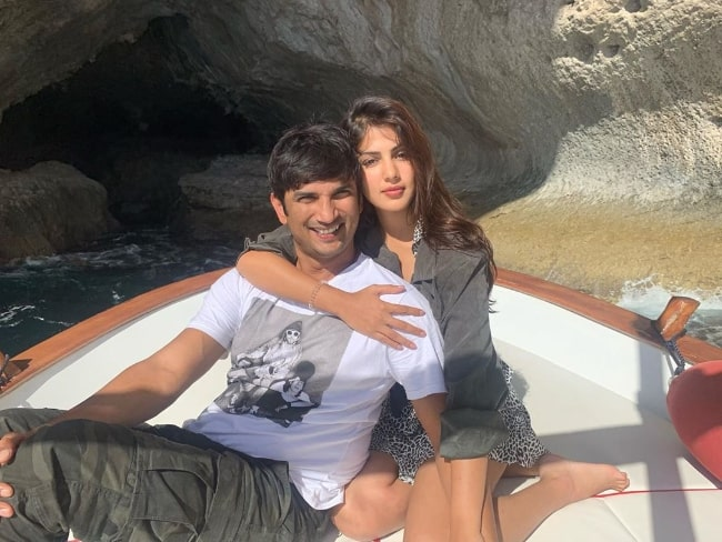Rhea Chakraborty as seen in a picture along with her late boyfriend Sushant Singh Rajput