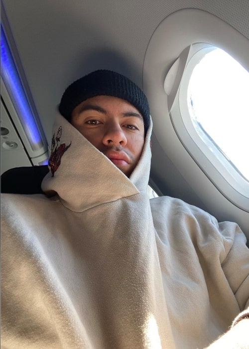Robert Lopez as seen in a selfie taken while on a plane in February 2020