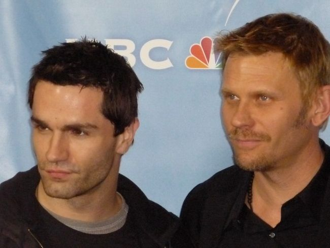 Sam Witwer posing with fellow Being Human castmate Mark Pellegrino