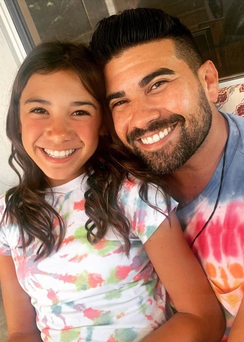 Scarlett Estevez as seen while smiling for a picture alongside her father in June 2020