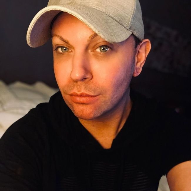 Shannel seen as Bryan Watkins (without the drag persona) in July 2019