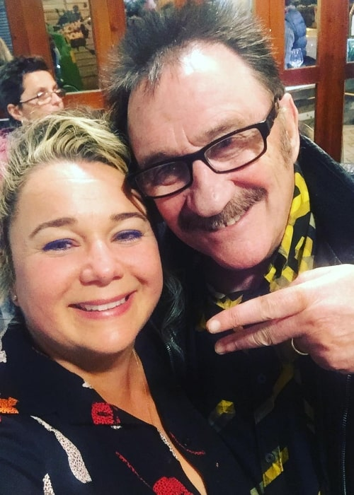 Shelley Longworth as seen while taking a selfie along with Paul Chuckle in Benidorm, Spain in March 2018