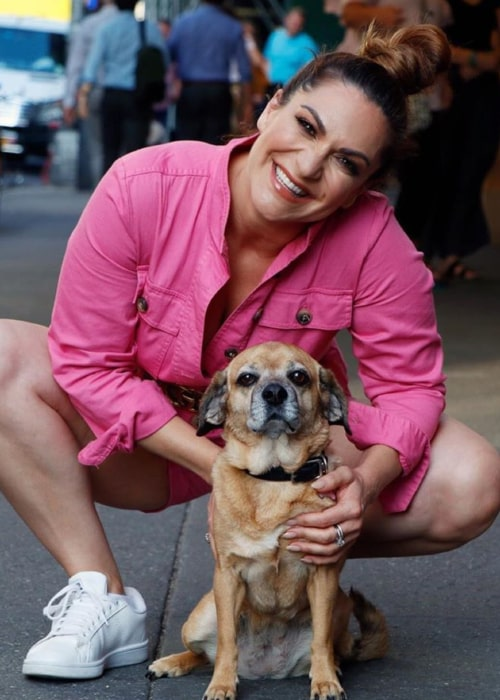 Shoshana Bean with her pet dog named Meemz, as seen in July 2019