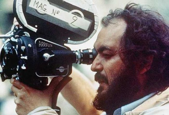 Stanley Kubrick operating the camera in a colored photo uploaded in 2010