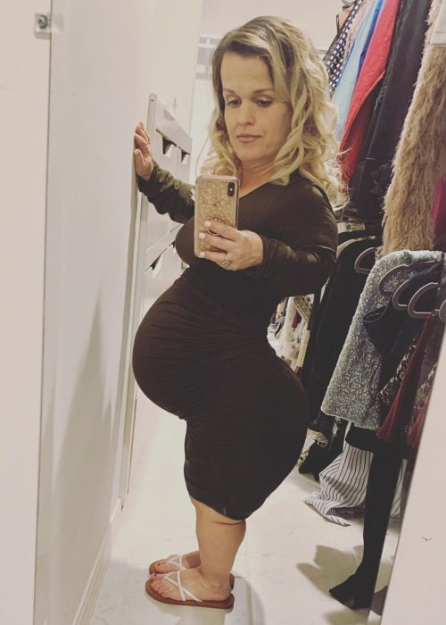 Terra Jolé as seen in a selfie taken on the day her daughter Magnolia August was born in 2020