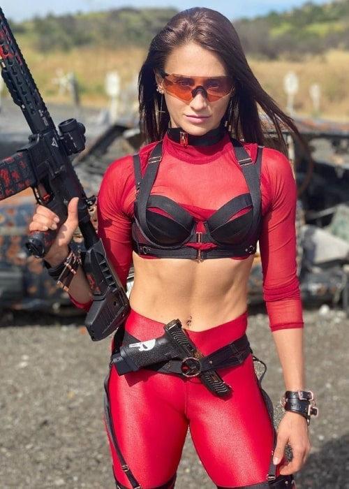 Tetiana Gaidar as seen in a picture taken while she was dressed as Deadpool in June 2020