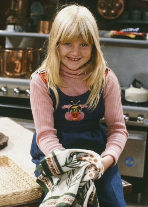 Tina Yothers as seen in a picture that was taken on the set of Family Ties in the past