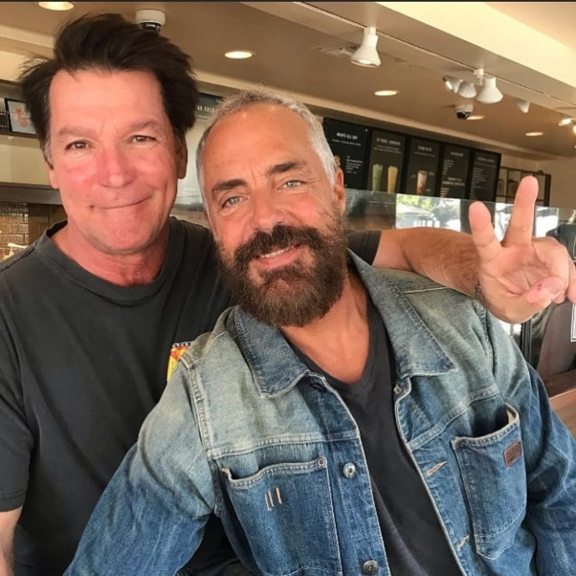 Titus Welliver as seen in a picture taken with professional stuntman Eddie Braun in March 2020