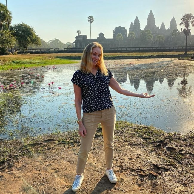 Tracy Pollan as seen in a picture taken near the Angkor Wat in Siem Reap, Cambodia in December 2019