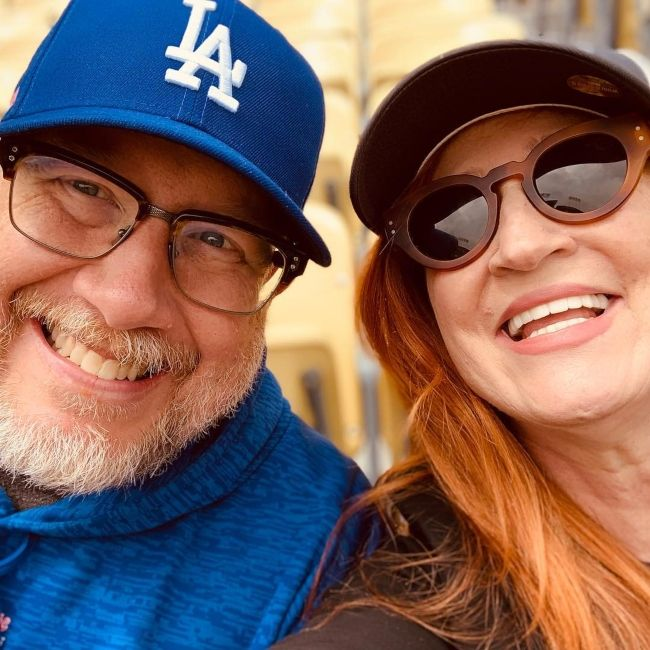 Vicki Lewis as seen with her husband Philip Allen in April 2019