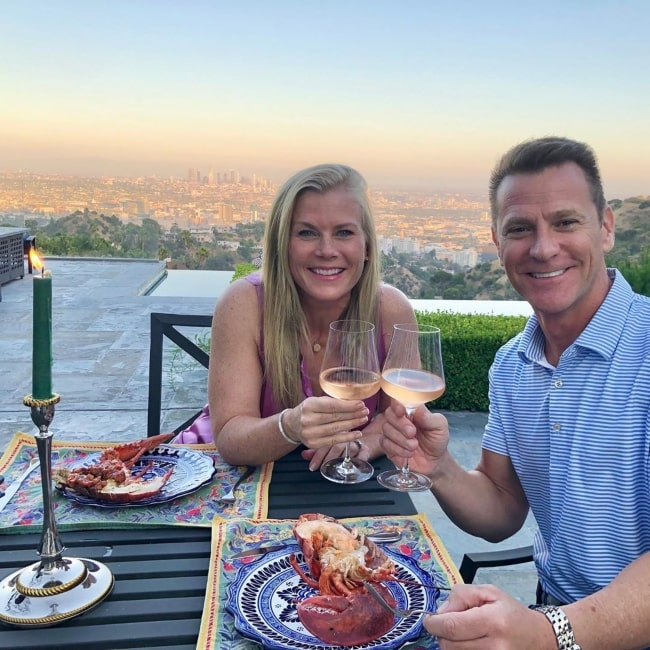Alison Sweeney and her husband celebrating their 20th anniversary in their own backyard in July 2020