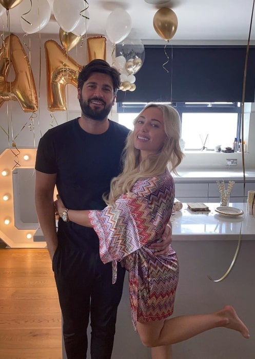 Amber Turner posing for a picture with Dan Edgar as they celebrated his 30th birthday in Chigwell, United Kingdom in May 2020
