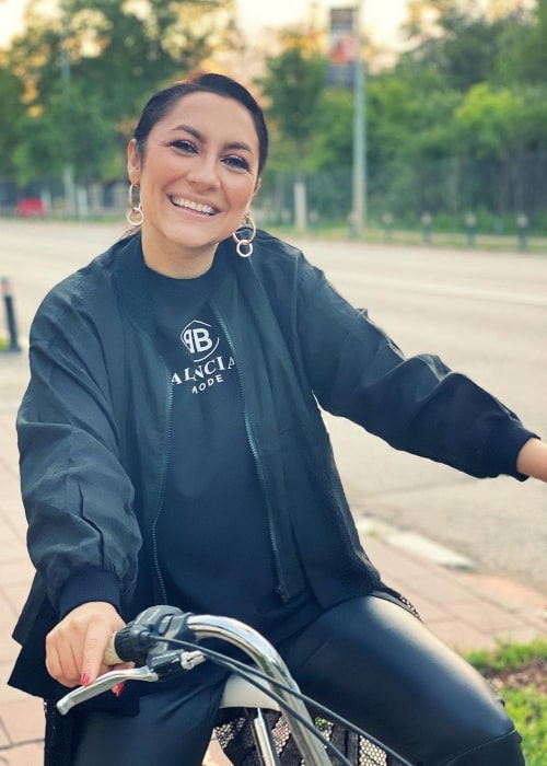 Andra as seen in a picture taken while she sits on a bicycle in May 2020
