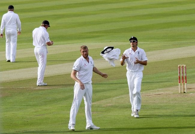Andrew as seen throwing his sweater and panama to Alastair Cook during a match in 2009