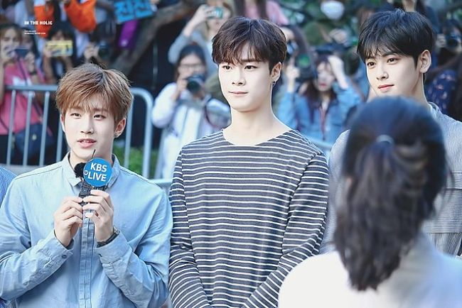 Astro members JinJin, Moonbin, and Cha Eun-woo as seen in 2017
