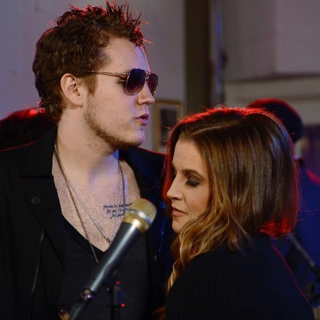 Benjamin Keough and Lisa Marie Presley pictured at Sun Studios while filming Good Morning America in 2012