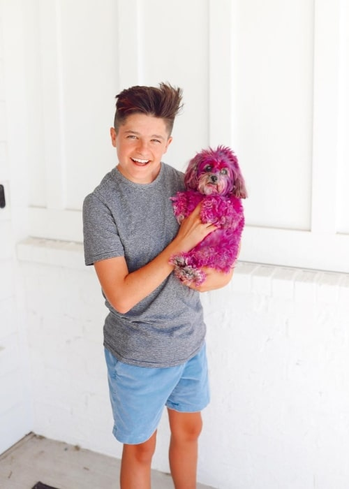 Boston Mikesell as seen in a picture taken with his dog in June 2020