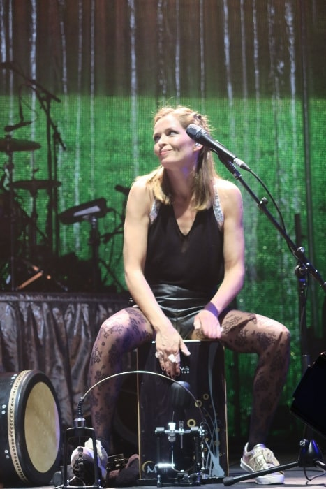 Caroline Corr pictured with performing part of the acoustic set of the White Light tour at London's 02 Arena on January 23, 2016