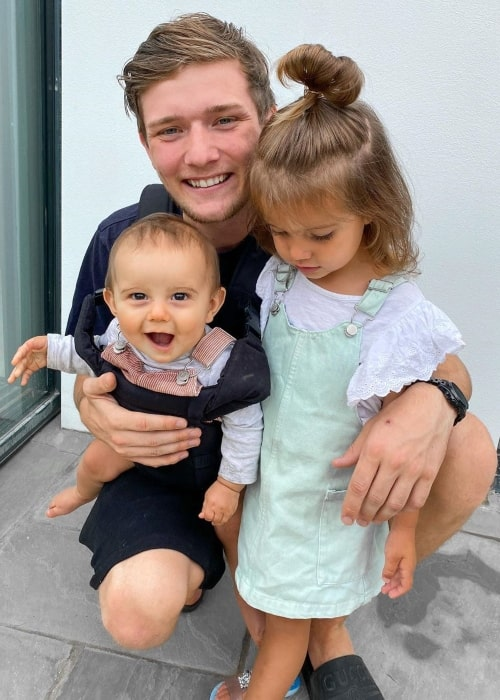 Casey Barker as seen in a picture that was taken with his daughter Harlow and son Lake in June 2020