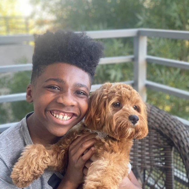 Christian J Simon as seen in a picture with his dog Seo in July 2020