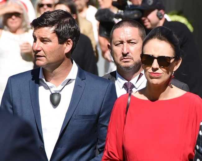 Clarke seen with his partner Jacinda Ardern on Waitangi Day in 2018