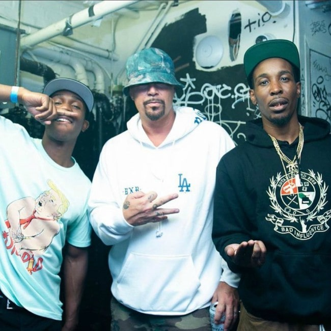 DJ Muggs (Center) with his friends as seen in April 2020