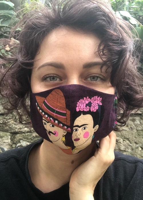 Deanna Russo as seen in a selfie taken while sporting a beautiful hand stiched mask during the Covid-19 pandemic in May 2020