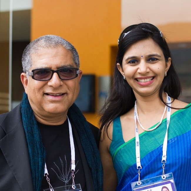 Deepak Chopra as seen in a picture taken with screen writer Aparnaa Malhotra on December 11, 2010