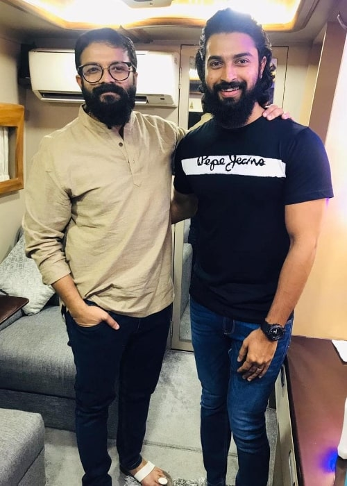 Dev Mohan (Right) posing for a picture alongside Jayasurya in Kochi, India