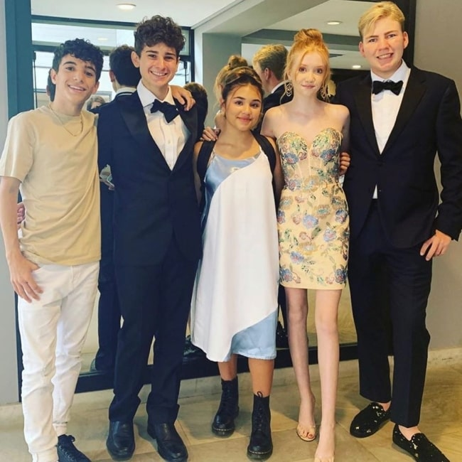 From Left to Right - Nick Bencivengo, Jax Malcolm, Madi Filipowicz, Makenna Kelly, and Connor Dean posing for the camera at Luxe Sunset Boulevard Hotel in September 2019