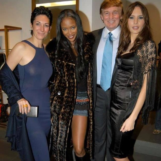 (From left to right) Ghislaine Maxwell, Naomi Campbell, Donald Trump, and Melania Trump