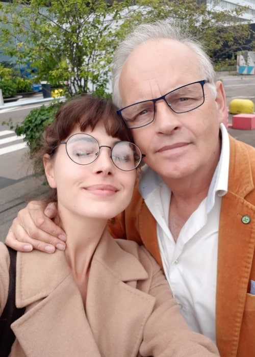 Genevieve Gaunt as seen while clicking a selfie with her father at Amsterdam Airport Schiphol in the Netherlands in August 2019