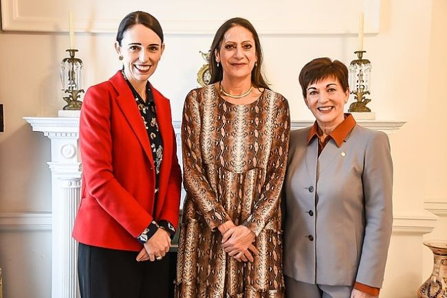 Jacinda as seen with Poto Williams (center) and Dame Patsy Reddy in July 2019