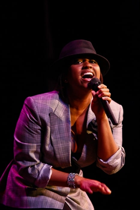 Jazmine Sullivan pictured while performing at an event in February 2009
