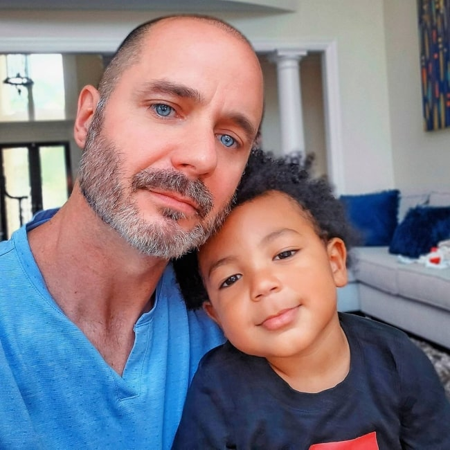 Justin McClure as seen in a selfie that was taken in May 2020, with his son Jersey McClure