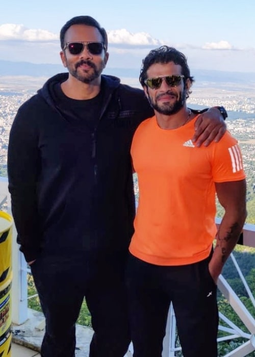 Karan Patel (Right) as seen while smiling in a picture along with Rohit Shetty in Izgrev, Sofia in August 2019