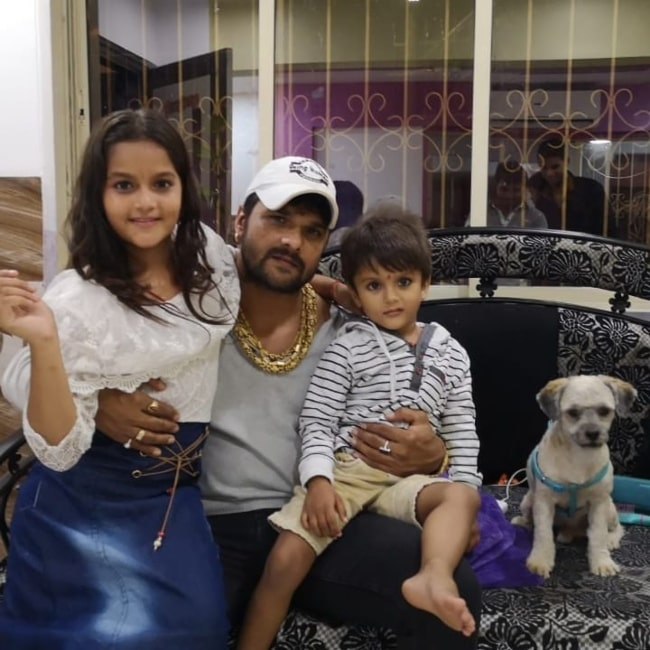 Khesari Lal Yadav as seen in a picture taken on the day of his son Rishab's birthday in June 2020