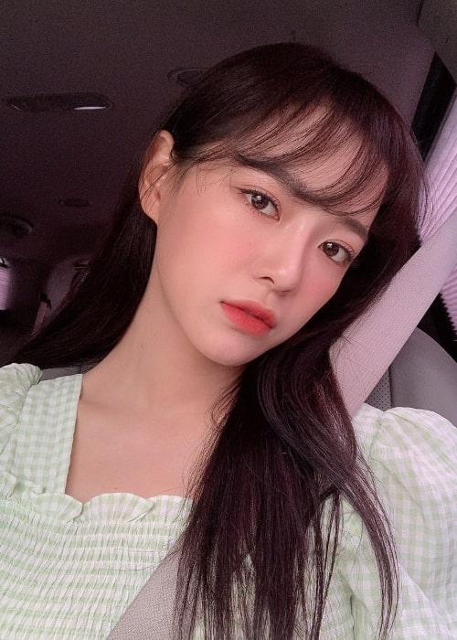 Kim Se-jeong as seen while taking a car selfie in June 2020