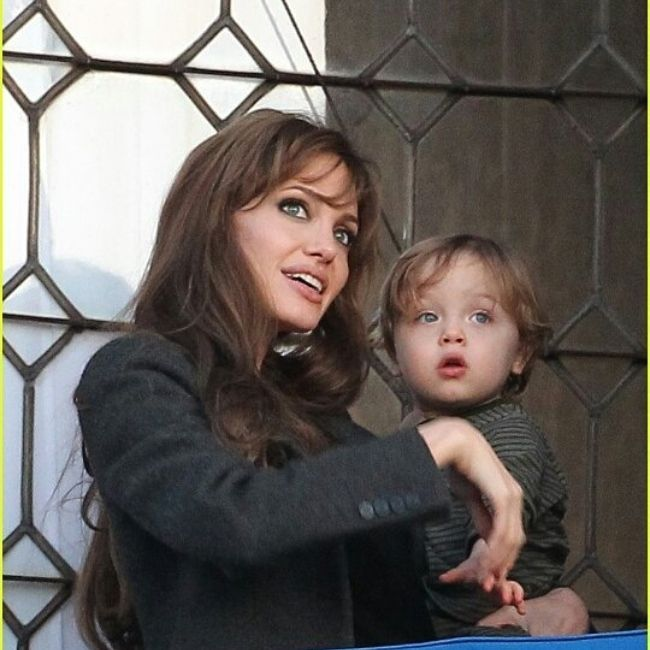 Knox Jolie-Pitt seen as a baby with his mother