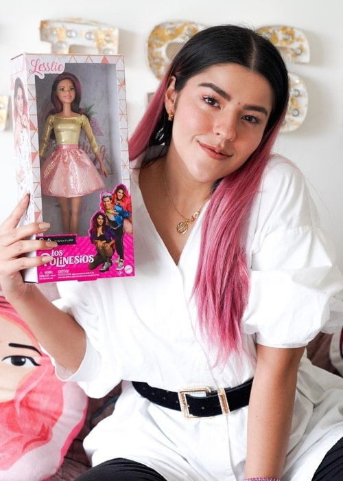 Lesslie Polinesia as seen in a picture taken while holding a Barbie doll named after her in May 2020