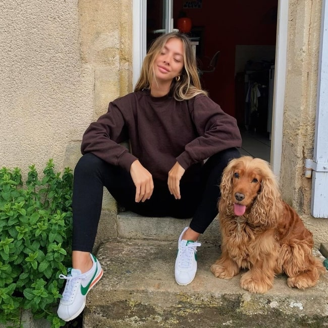 Mathilde Tantot as seen in a picture taken with her dog in April 2020